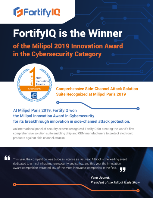 Fortify wins the Milipol 2019 Innovation in Cybersecurity Award press release cover